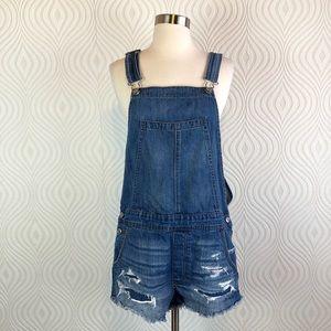 American Eagle Denim Overall Shorts, size Medium